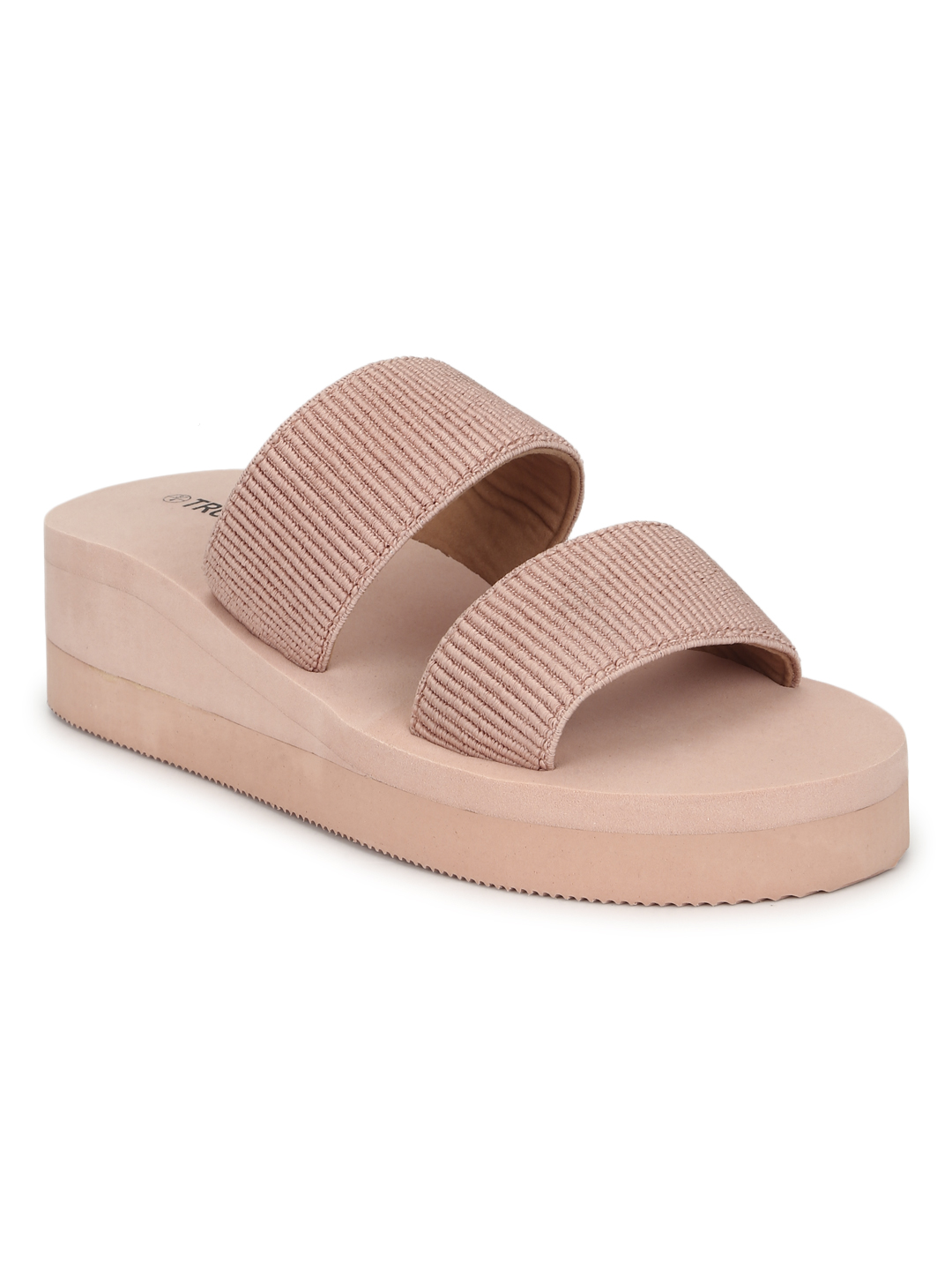 Truffle Collection | Beige EVA Wedges With Wide Front Straps
