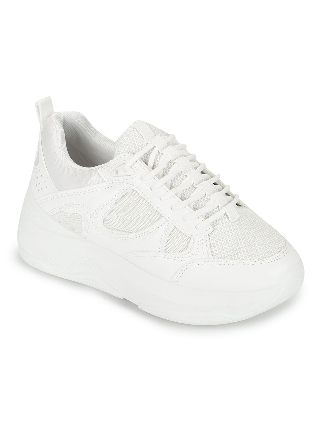 Truffle Collection | Truffle Collection Total White PU Lace-Up Chunky Sneakers