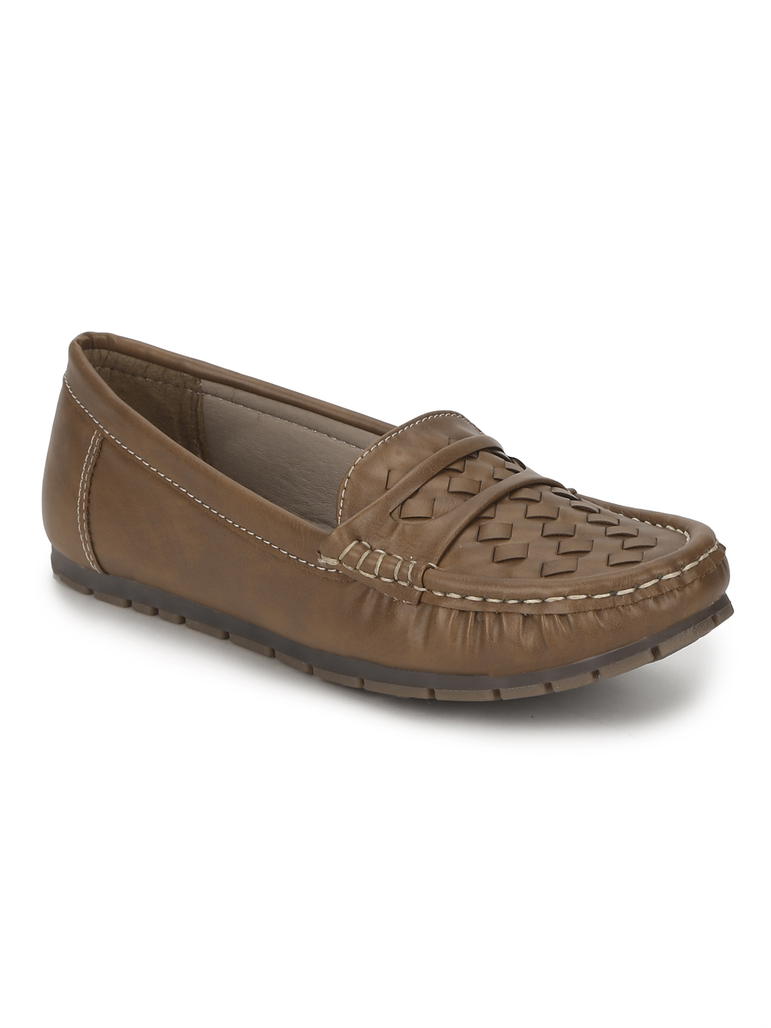Truffle Collection | Tan PU Loafers With Weaves