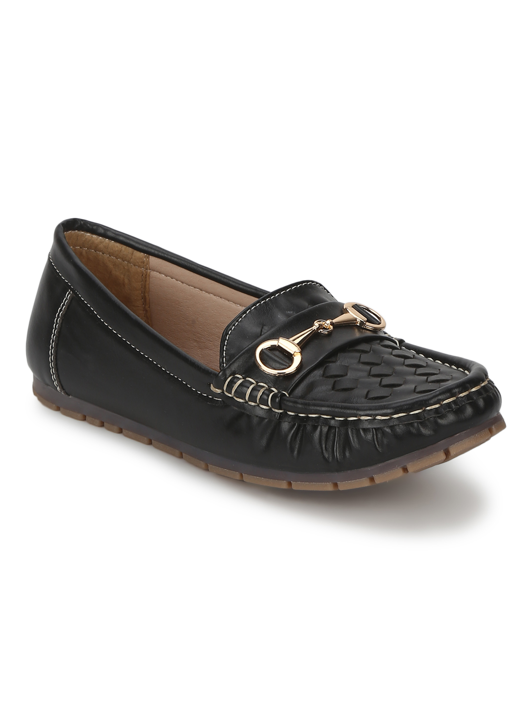 Truffle Collection   Black PU Gold Chain Loafer With Weaves
