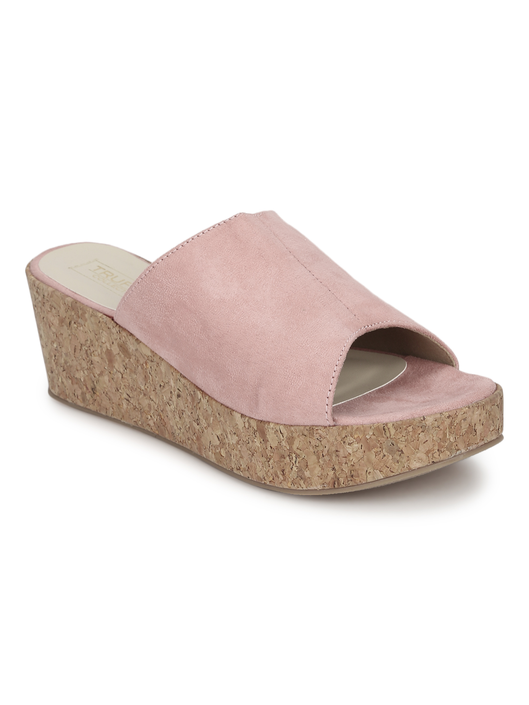 Truffle Collection | Nude Pink Micro Slip On Wedges