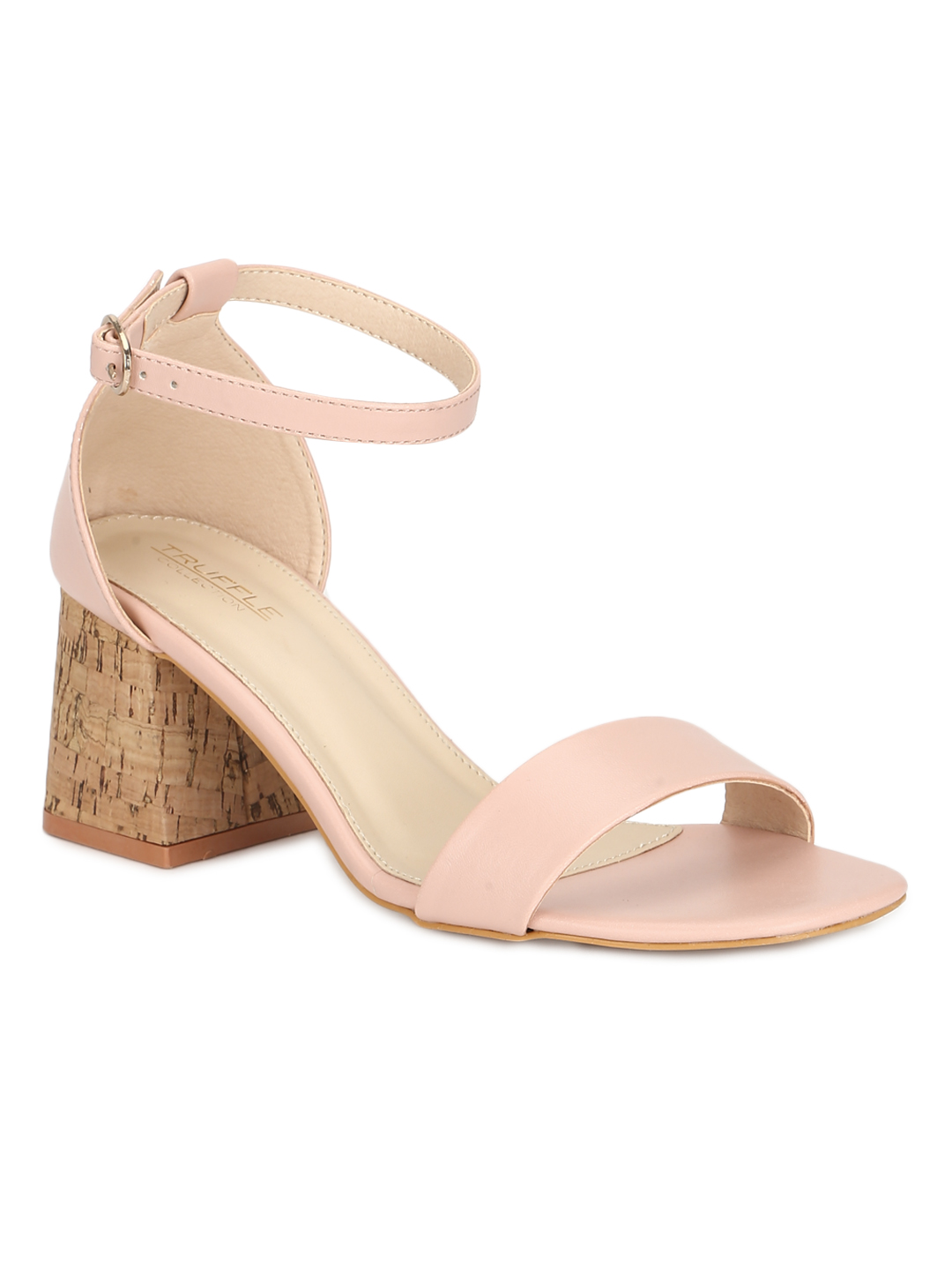 Truffle Collection | Pink PU Low Block Heel Sandals