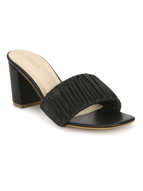 Truffle Collection   Black PU Wrinkled Block Heel Sandals