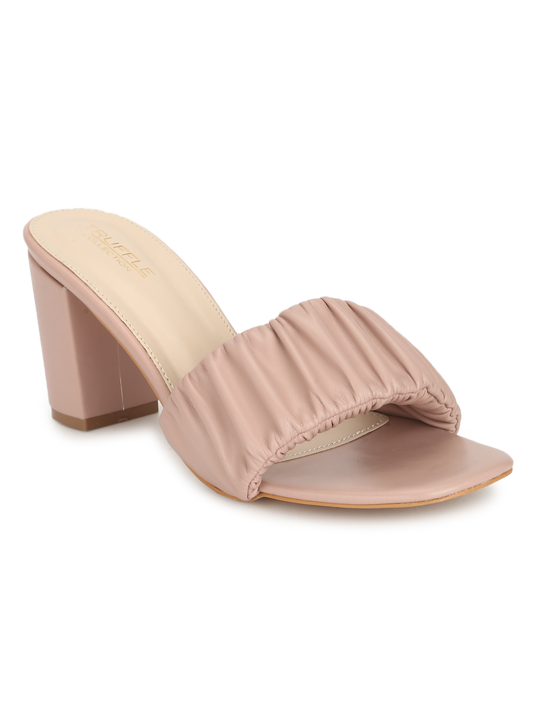 Truffle Collection | Pink PU Wrinkled Block Heel Sandals