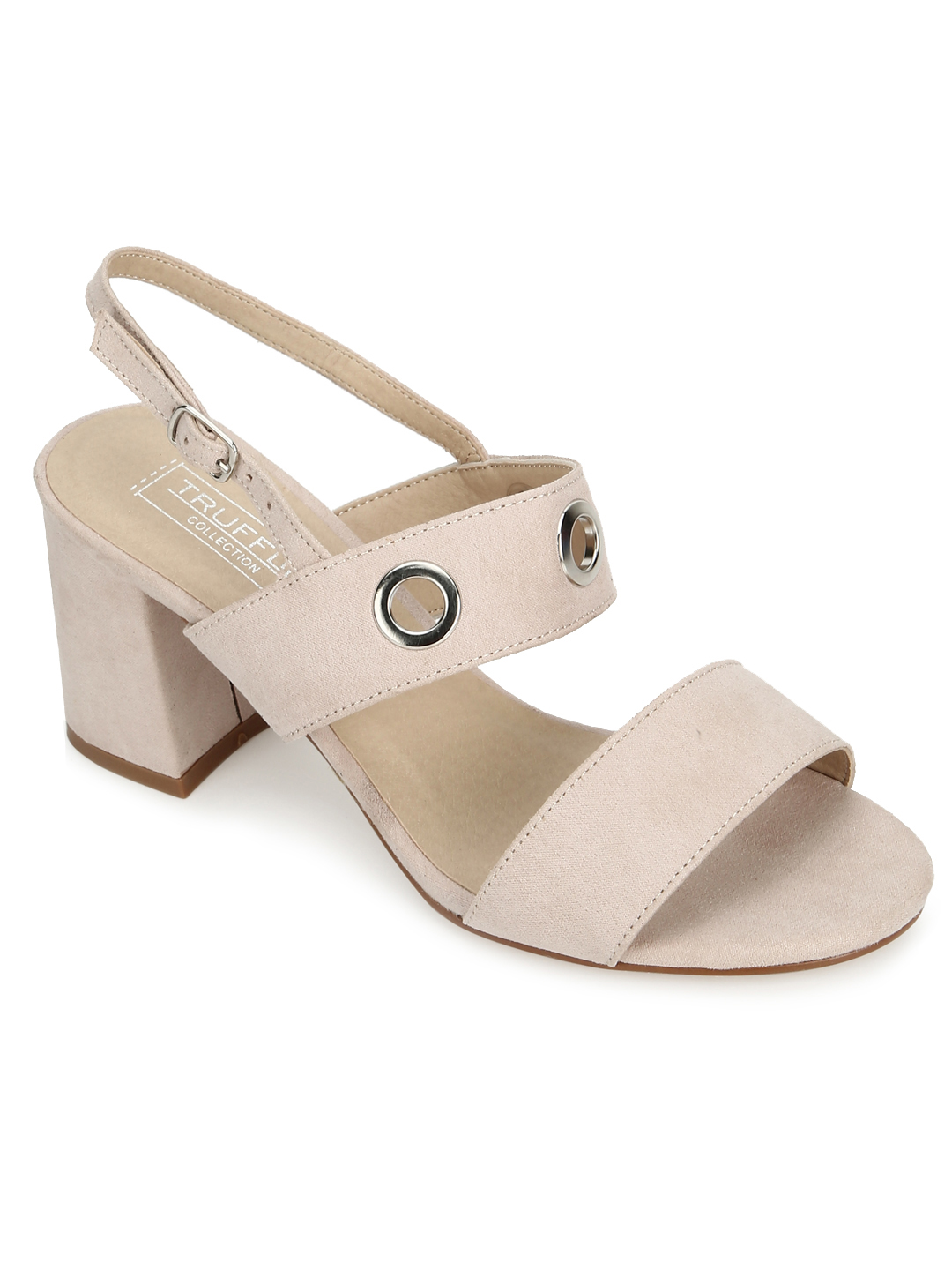 Truffle Collection | Rose Pink Micro Block Heel Sandals