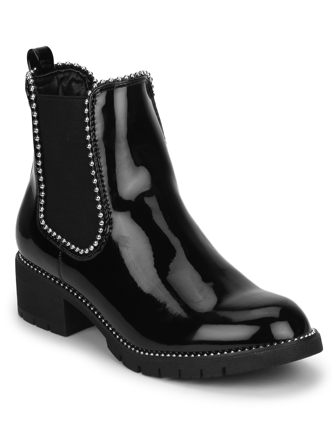 Truffle Collection | Black Patent Studded Ankle Boot