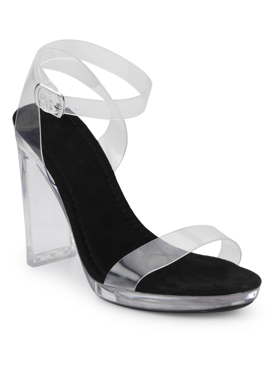 Truffle Collection   Truffle Collection Black Micro Clear High Block Heels