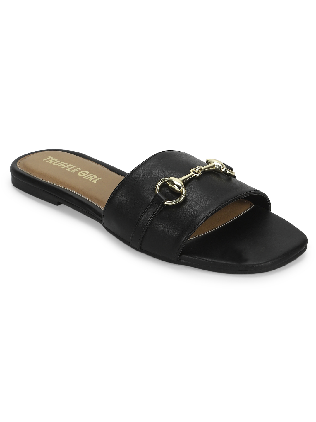 Truffle Collection   Black PU Slip Ons With Buckle Strap