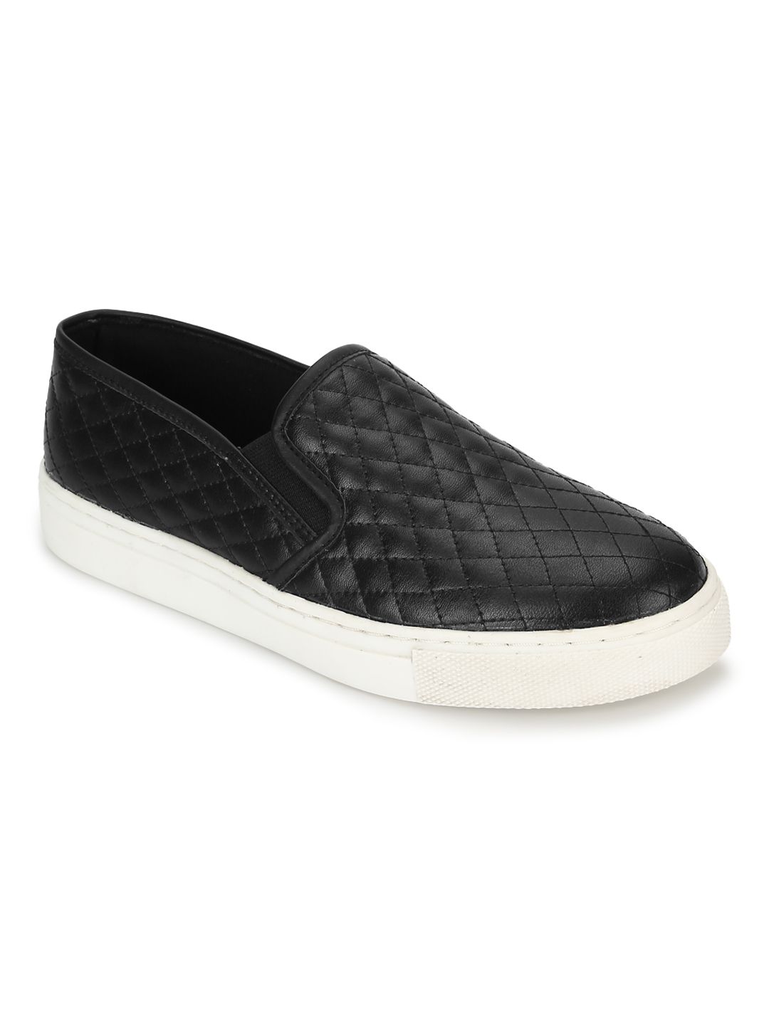 Truffle Collection | Truffle Collection Black PU Quilted Slip On Shoes
