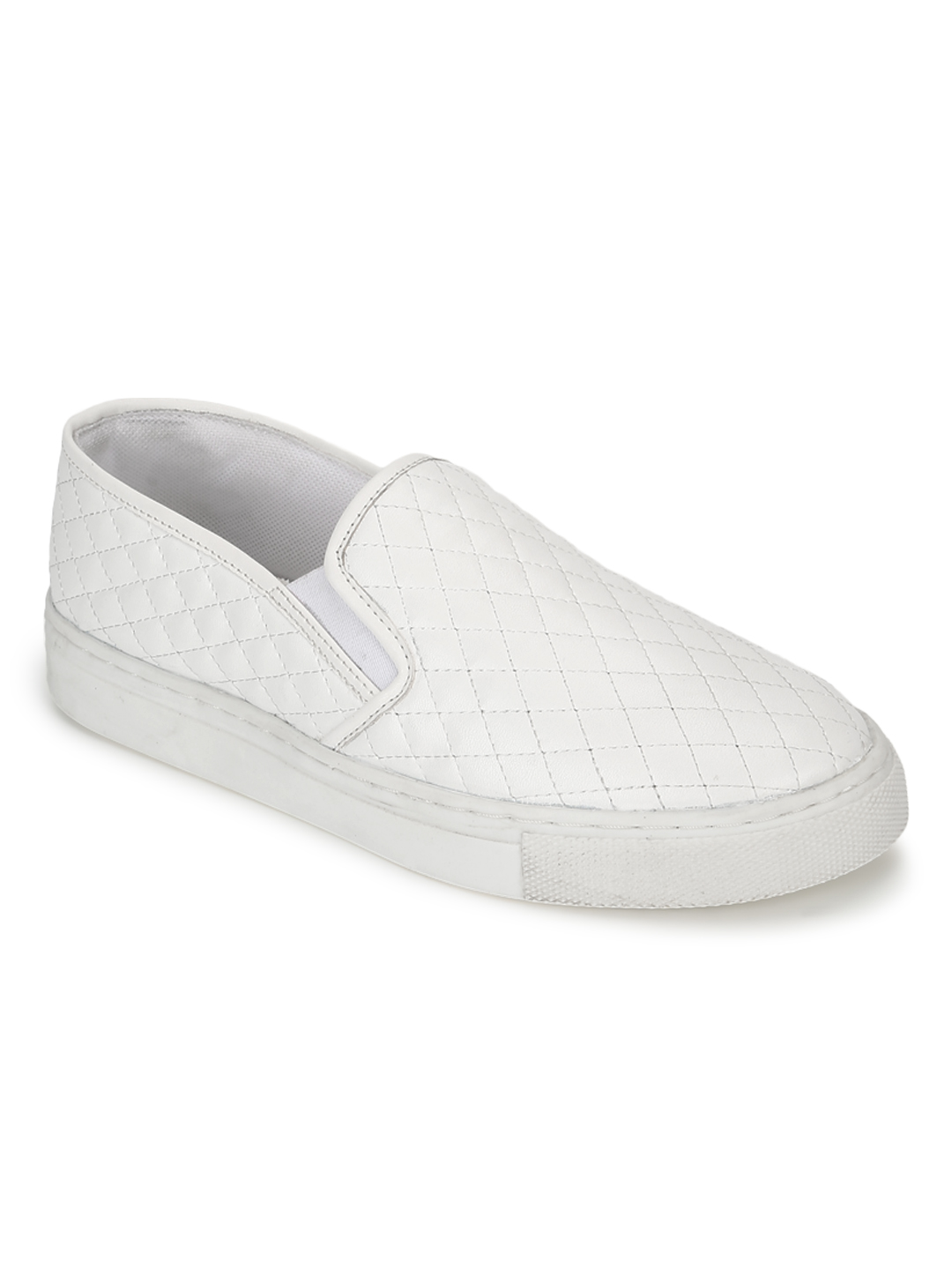 Truffle Collection | Truffle Collection White PU Quilted Slip On Shoes