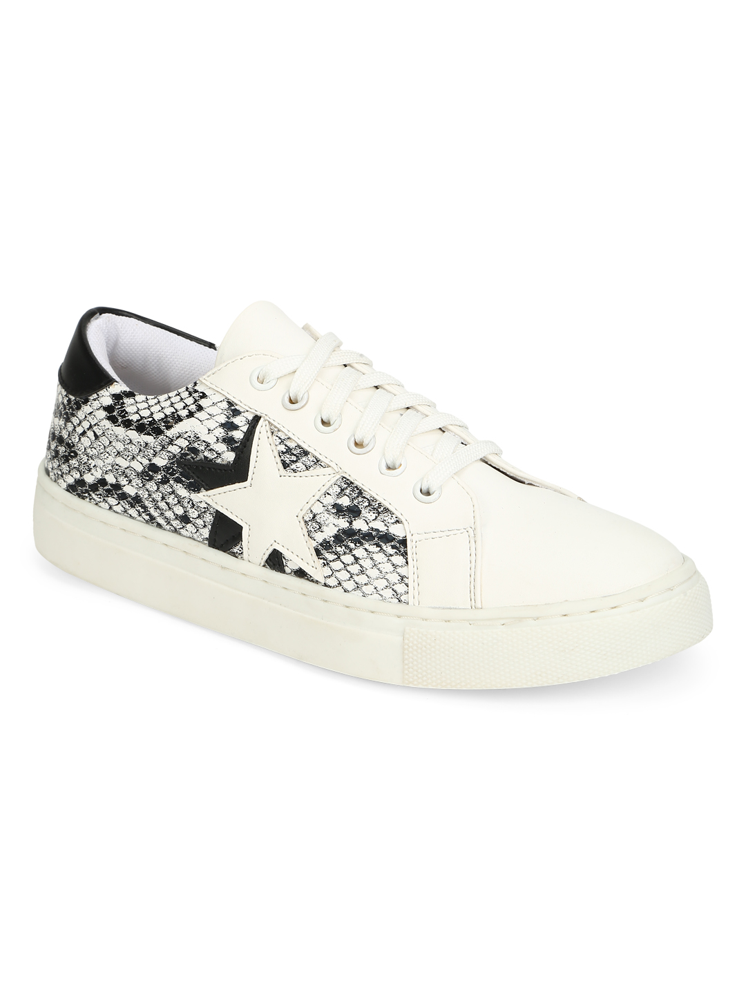 Truffle Collection | Truffle Collection Black White Snake Trainers