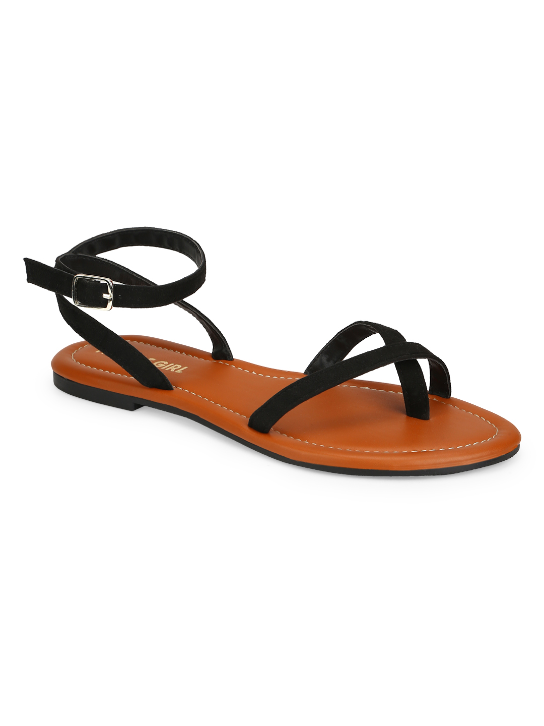 Truffle Collection | Truffle Collection Black Suede Buckle Strap Sandals