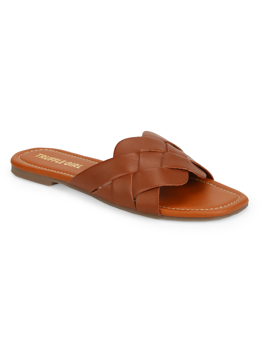 Truffle Collection | Truffle Collection Tan PU Woven Strap Slip Ons