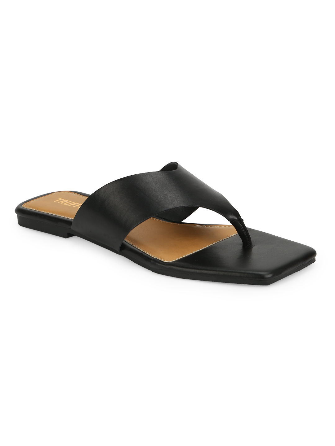 Truffle Collection | Truffle Collection Black PU Square Toe Slippers