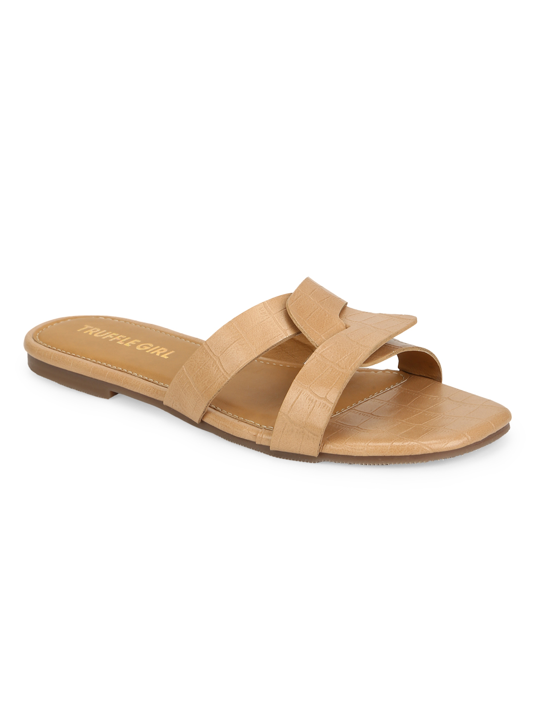 Truffle Collection | Truffle Collection Nude Croc PU Slip Ons