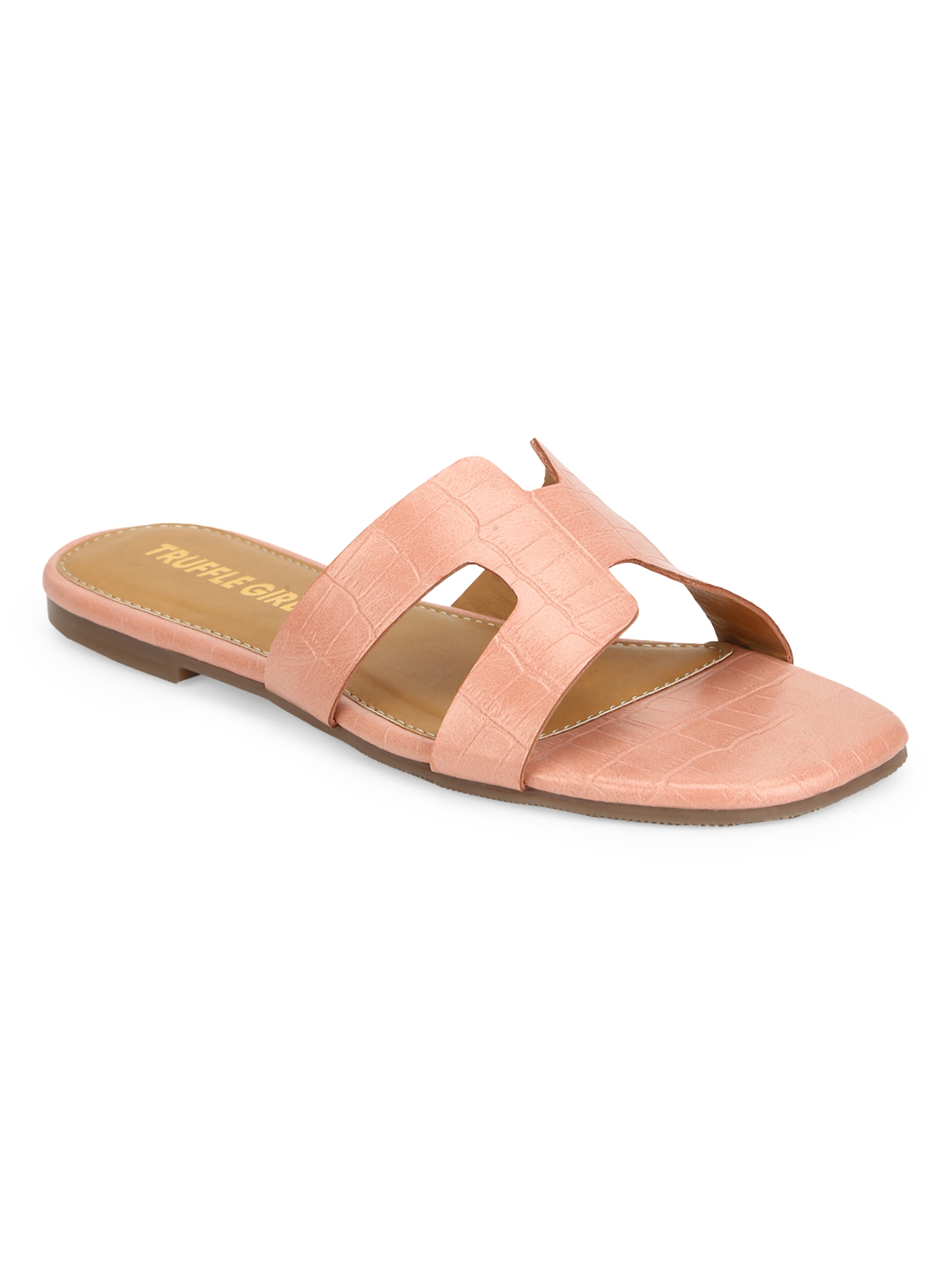 Truffle Collection | Truffle Collection Pink Nude Croc PU Slip On Slides