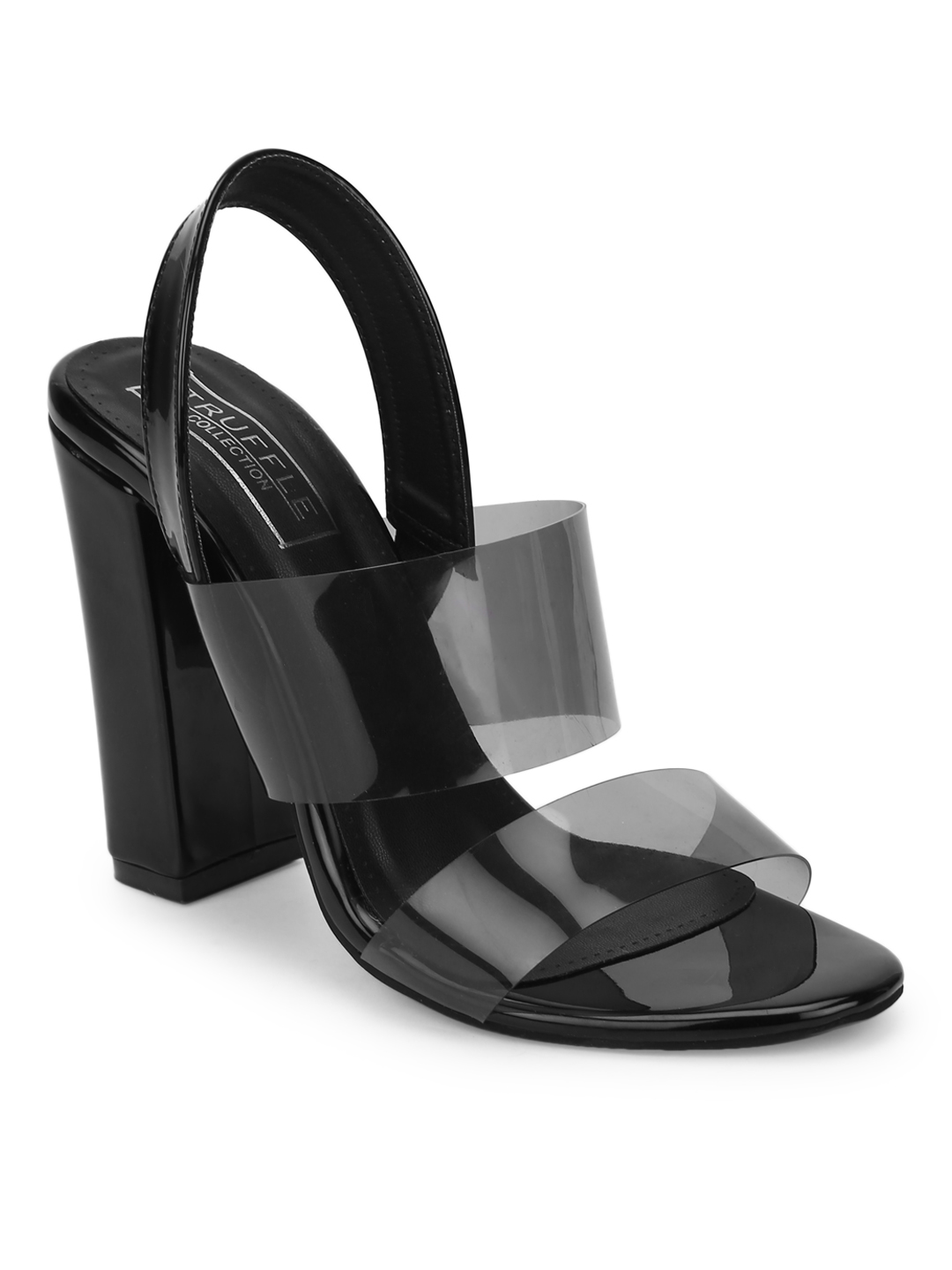 Truffle Collection | Black Perspex Patent Sandals With Back Strap