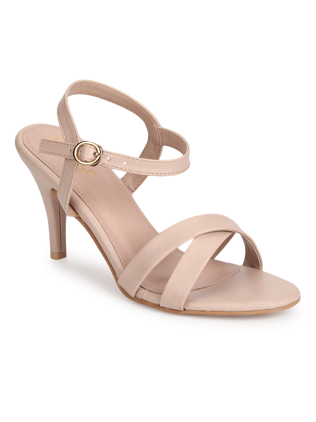 Truffle Collection   Truffle Collection Nude PU Round Toe Stilettos With Ankle Strap