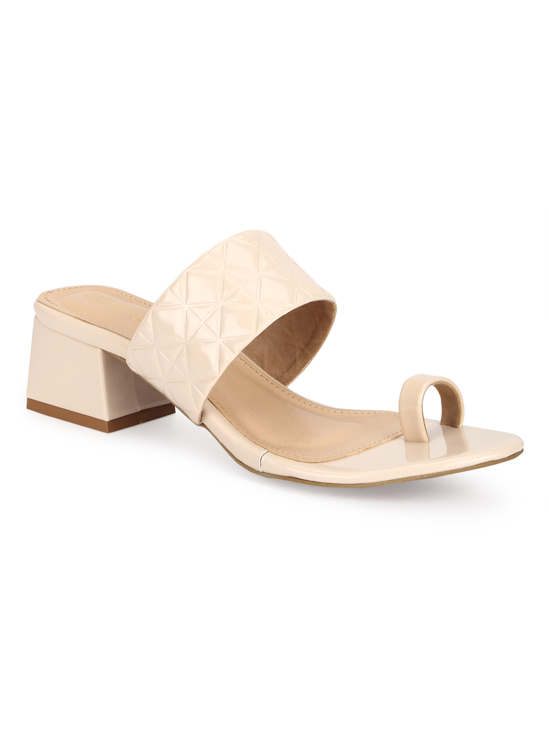 Truffle Collection | Truffle Collection Cream Patent Textured Slip On Sandals
