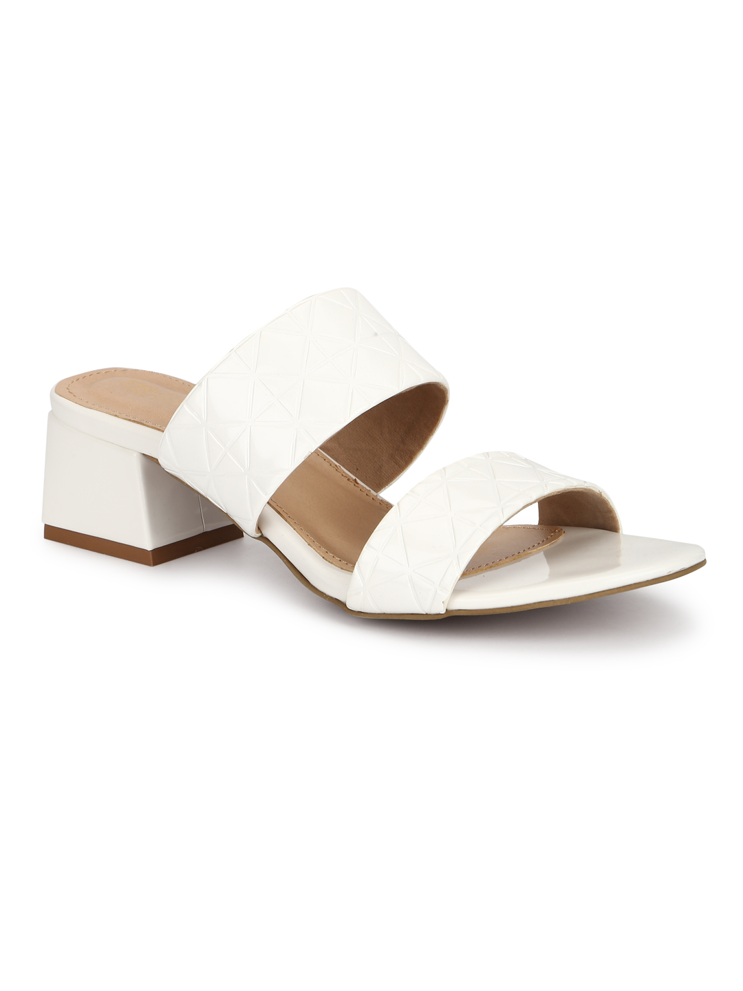 Truffle Collection | Truffle Collection White Patent Textured Low Heel Sandals