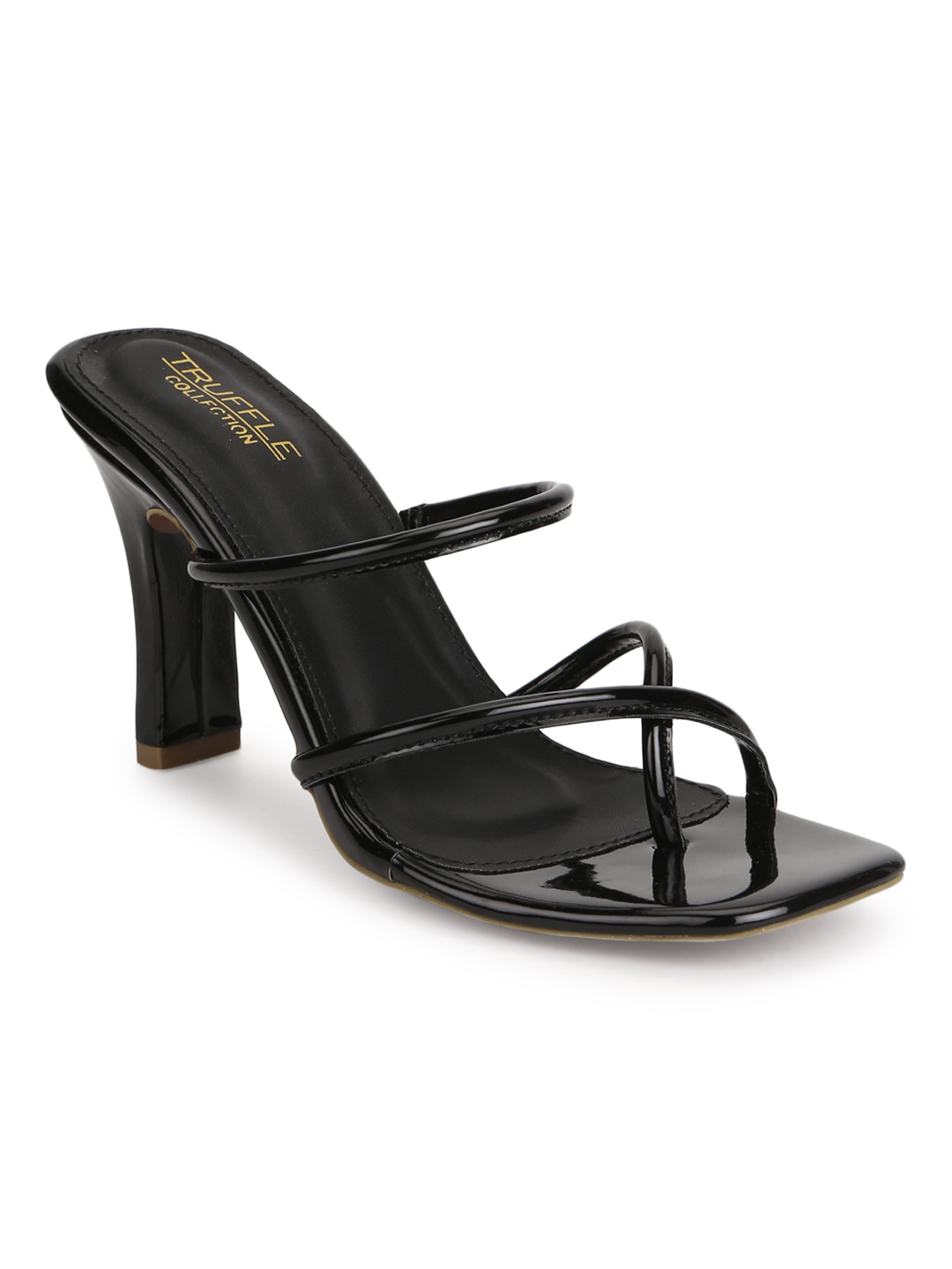 Truffle Collection   Truffle Collection Black Patent Glossy High Heel Mules