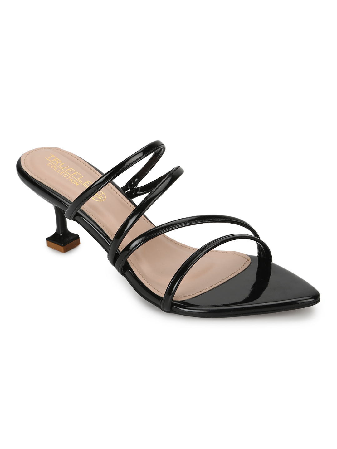 Truffle Collection   Truffle Collection Black Patent Pointy Toe Kitten Heels