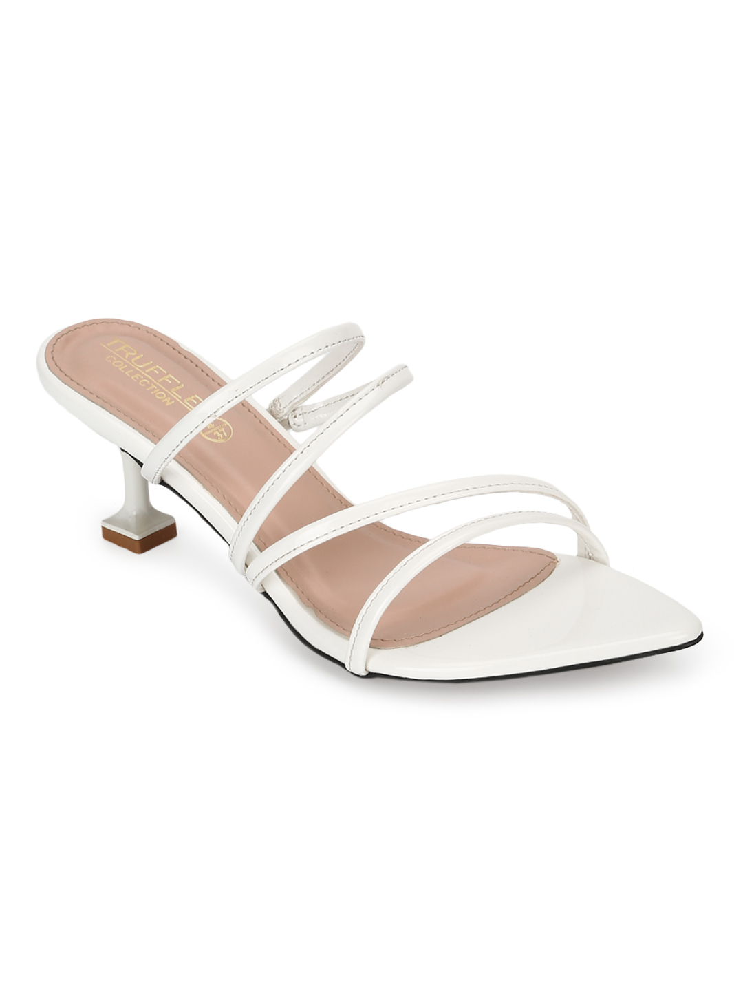 Truffle Collection | Truffle Collection White Patent Pointy Toe Kitten Heels