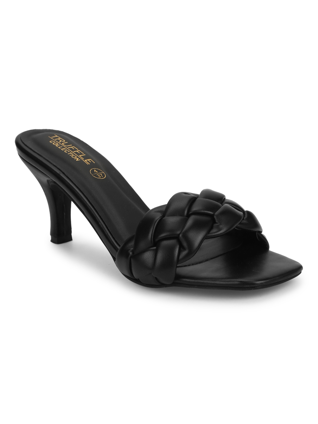 Truffle Collection | Truffle Collection Black PU Braided Kitten Heels