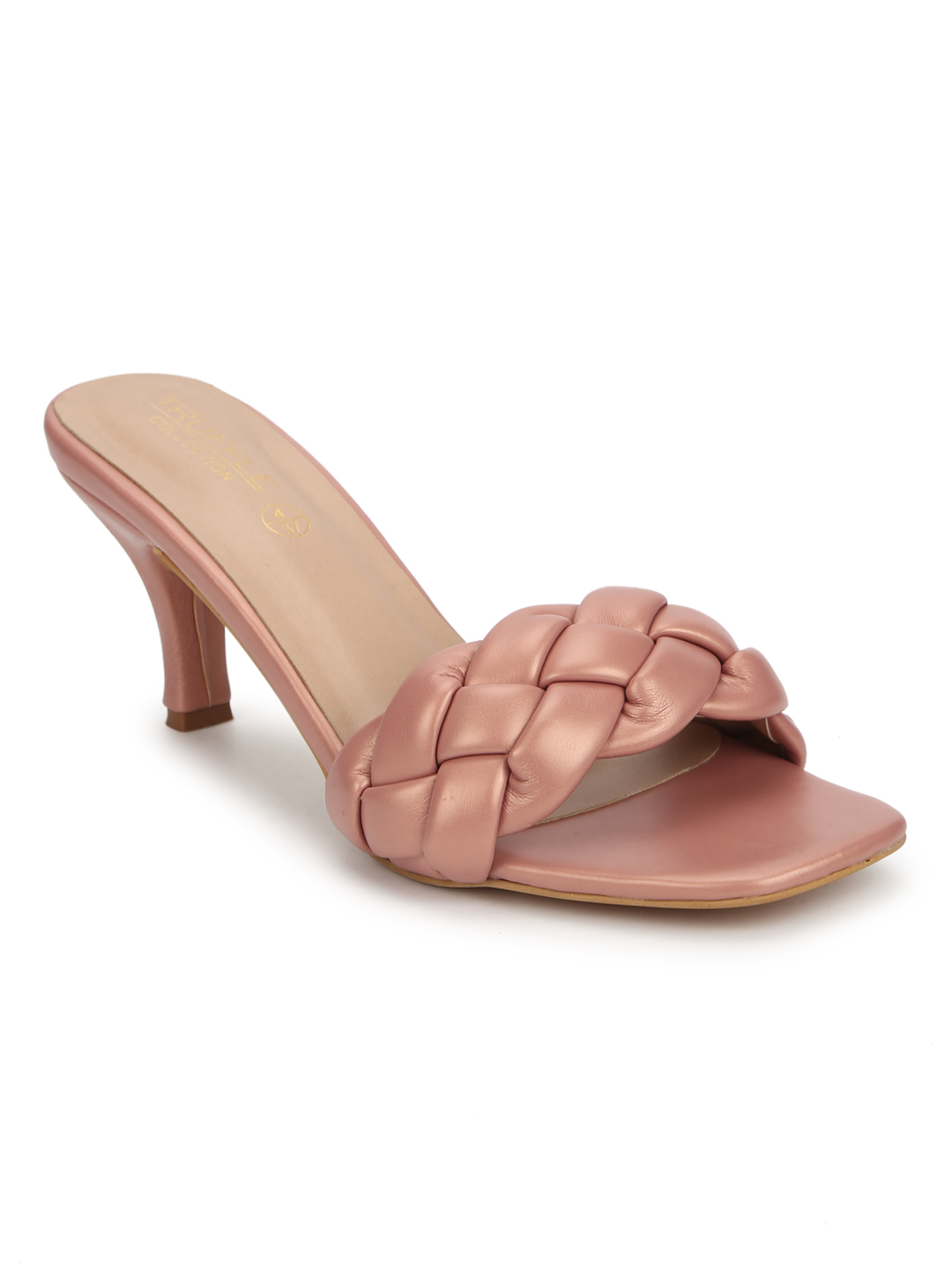 Truffle Collection | Truffle Collection Nude PU Braided Kitten Heels