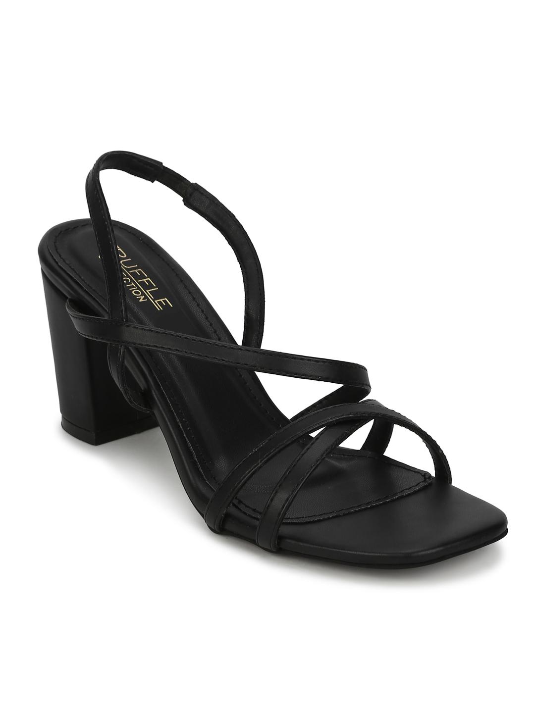 Truffle Collection   Black PU Crossover Strap Block Heel Sandals