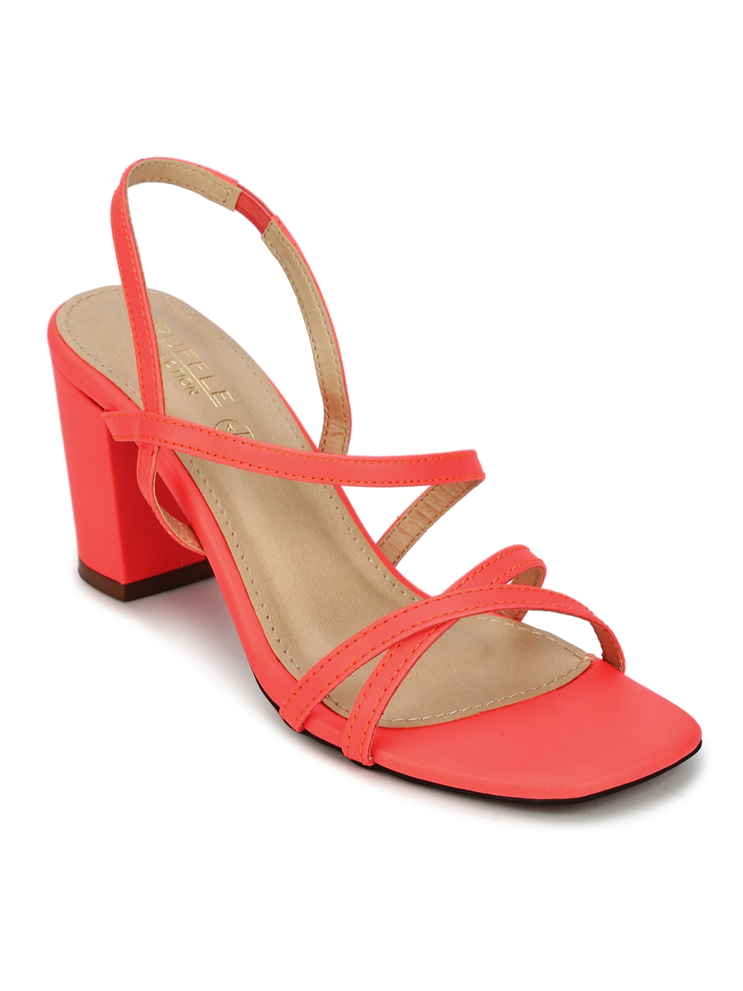 Truffle Collection | Red PU Crossover Strap Block Heel Sandals
