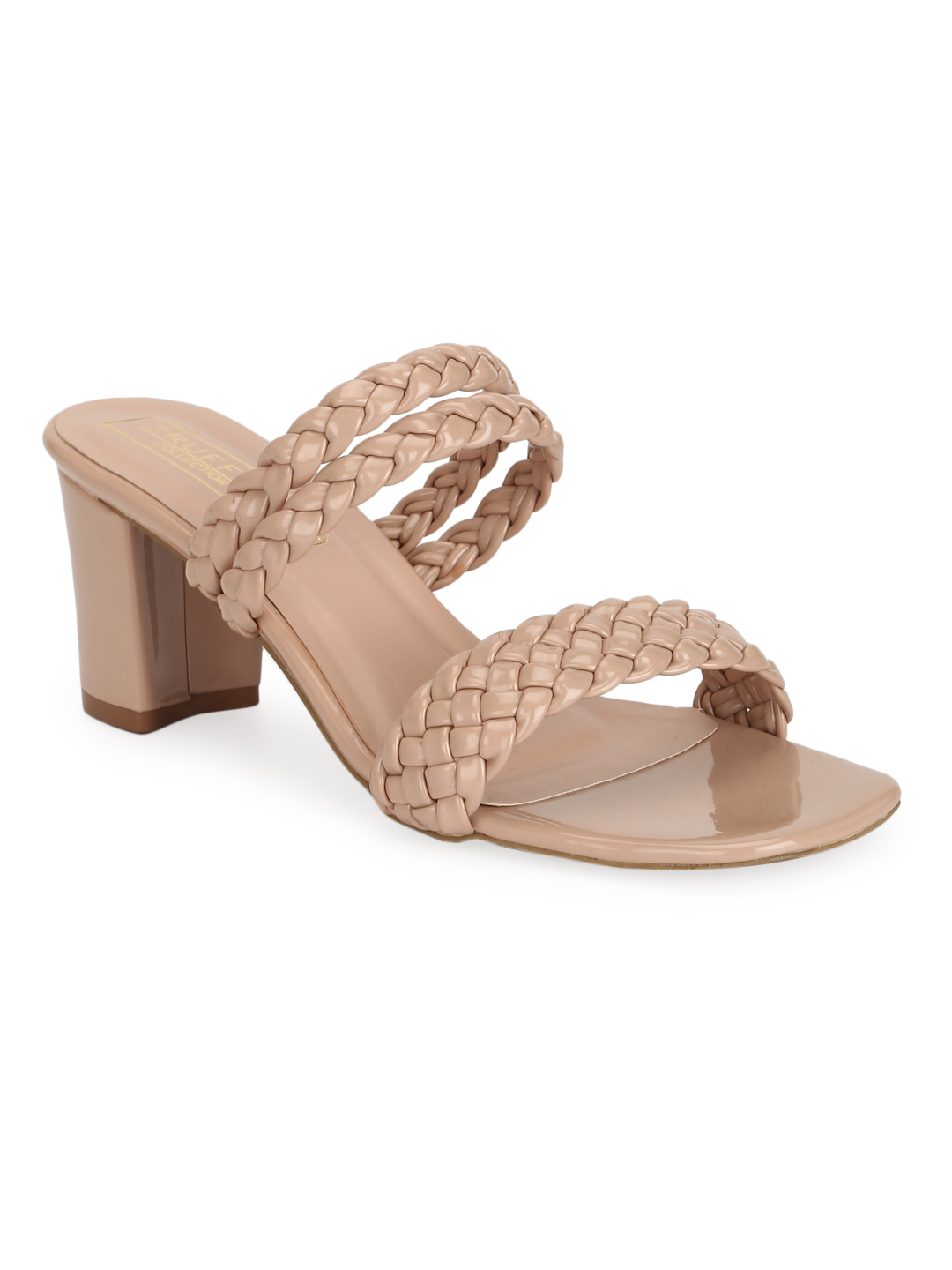 Truffle Collection   Nude Patent Braided Block Heel Sandals