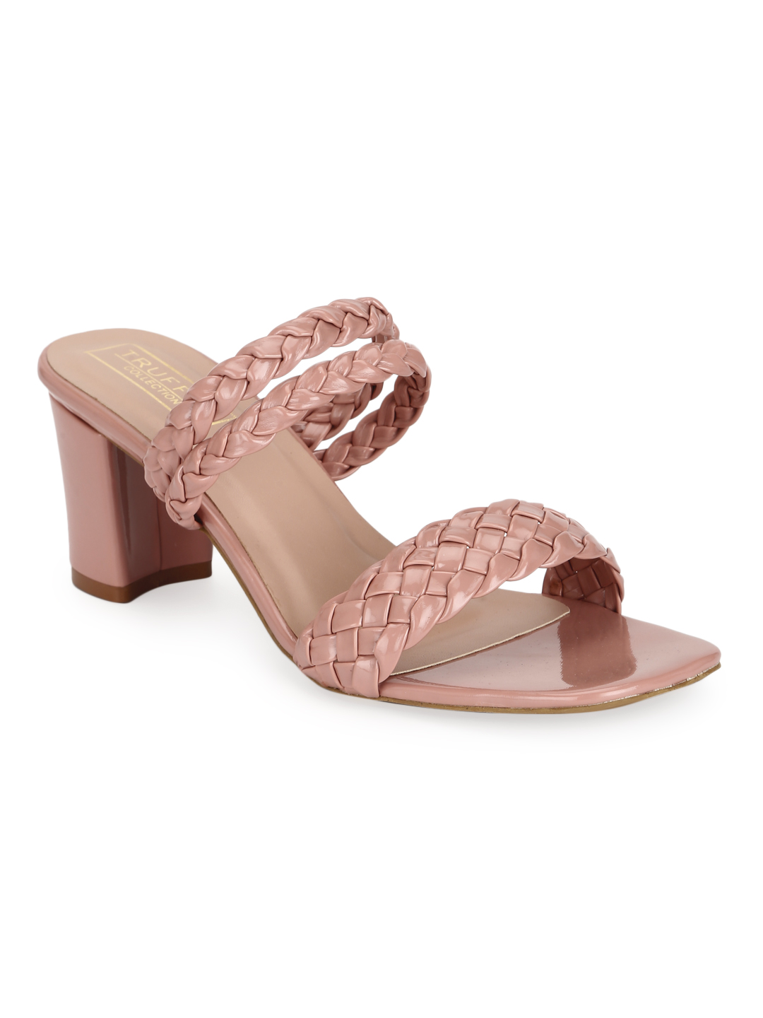 Truffle Collection | Pink Patent Braided Block Heel Sandals