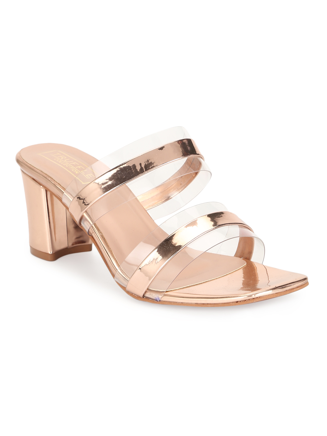 Truffle Collection | Rosegold Patent Perspex Block Heel Sandals