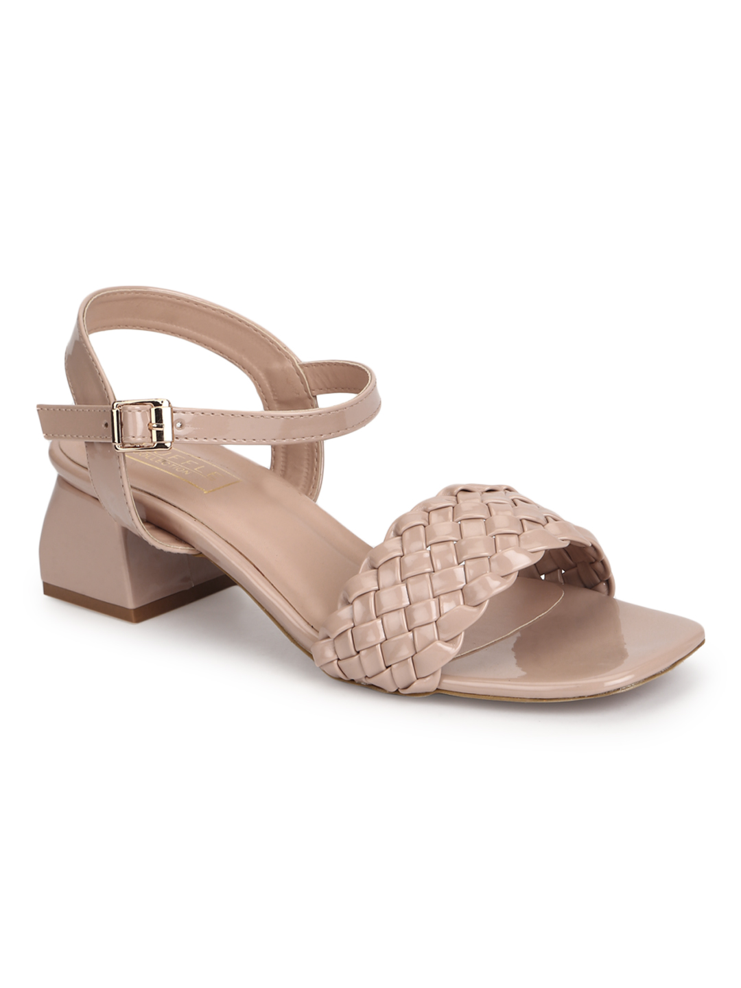 Truffle Collection   Truffle Collection Nude Patent Woven Low Block Heels