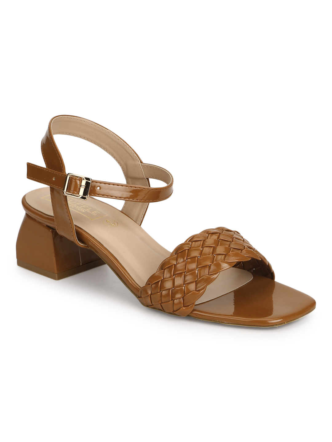 Truffle Collection | Truffle Collection Tan Patent Woven Low Block Heels