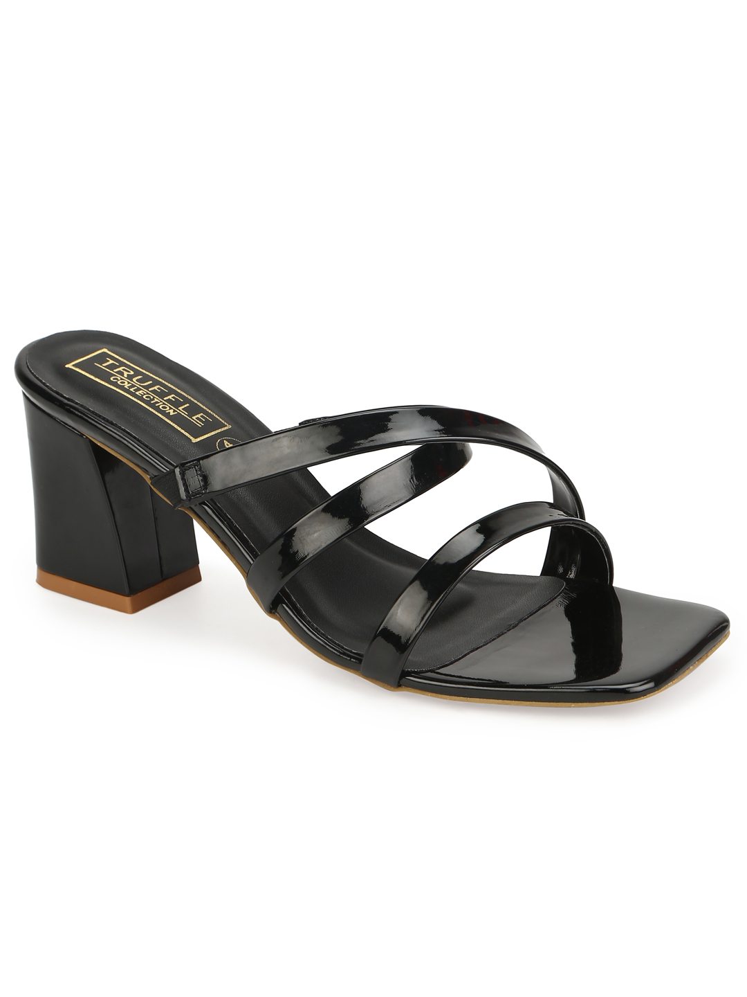 Truffle Collection | Truffle Collection Black Patent Strappy Sandals