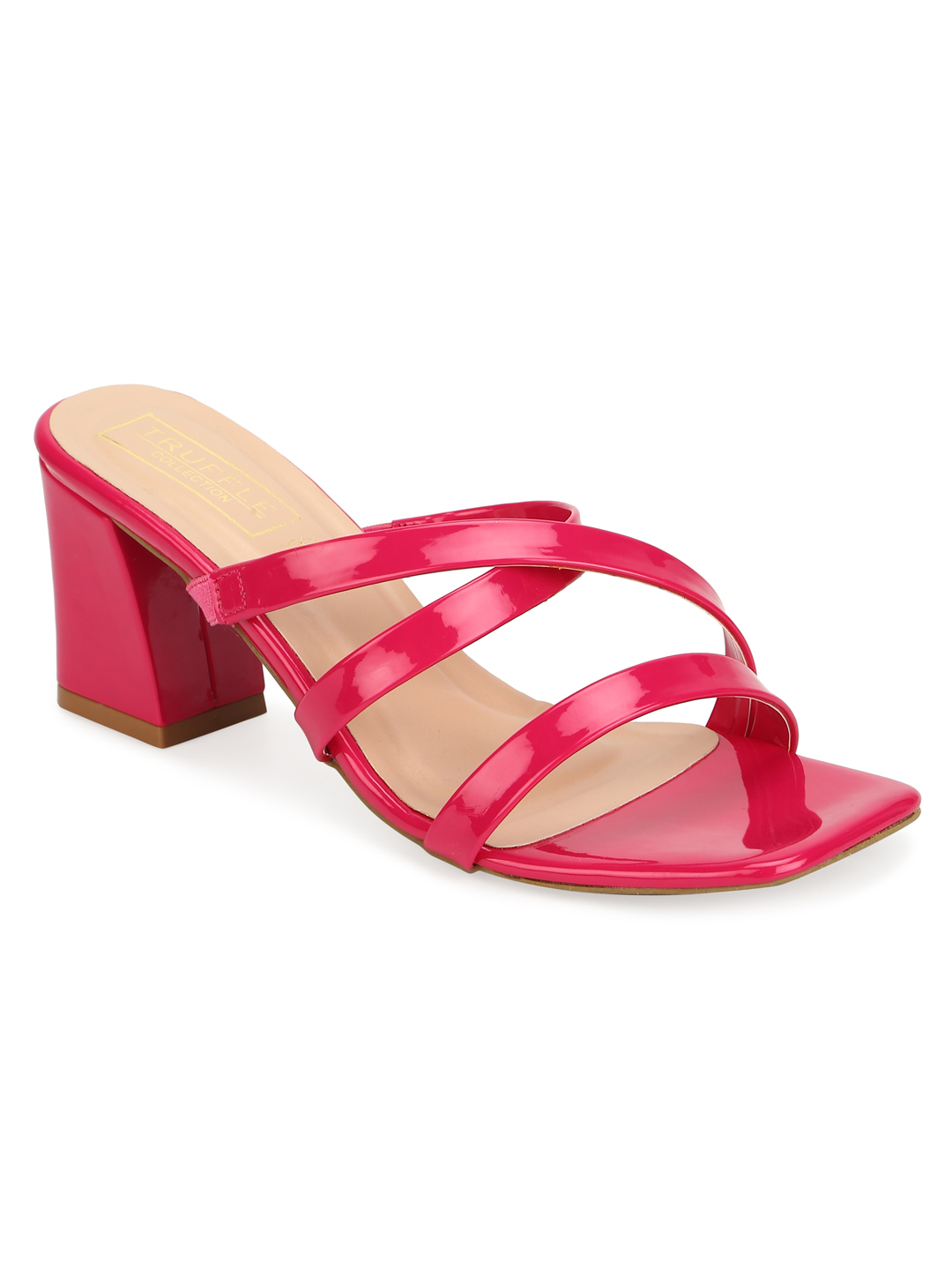 Truffle Collection | Truffle Collection Fuschia Patent Strappy Sandals