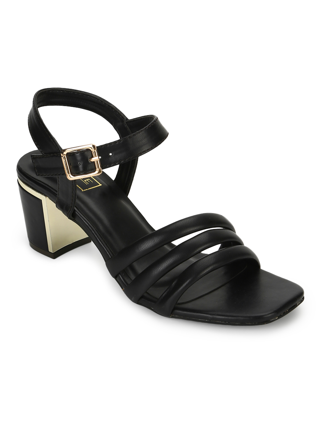 Truffle Collection | Truffle Collection Black PU Block Heel Sandals