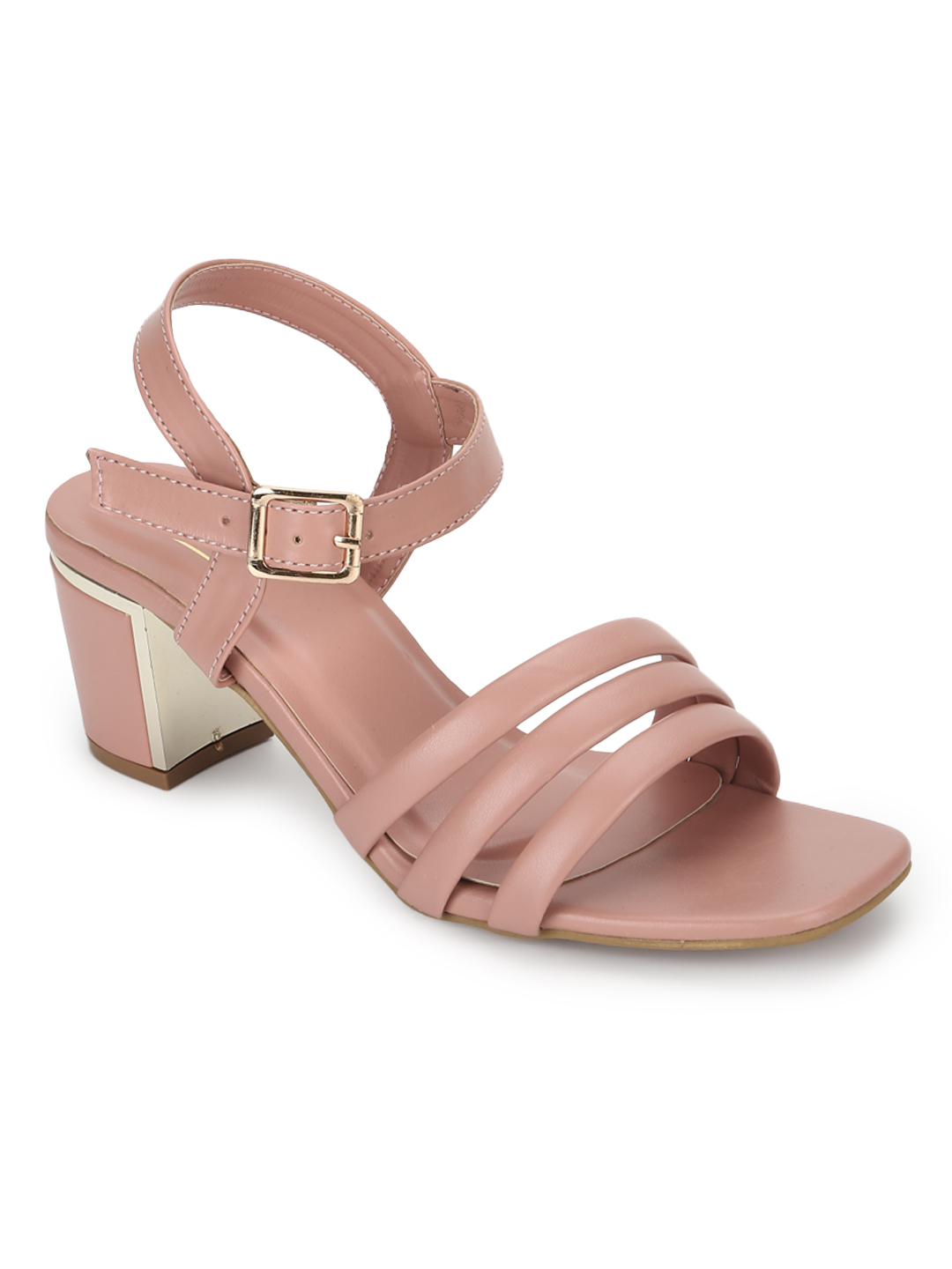 Truffle Collection | Truffle Collection Nude Pink PU Block Heel Sandals