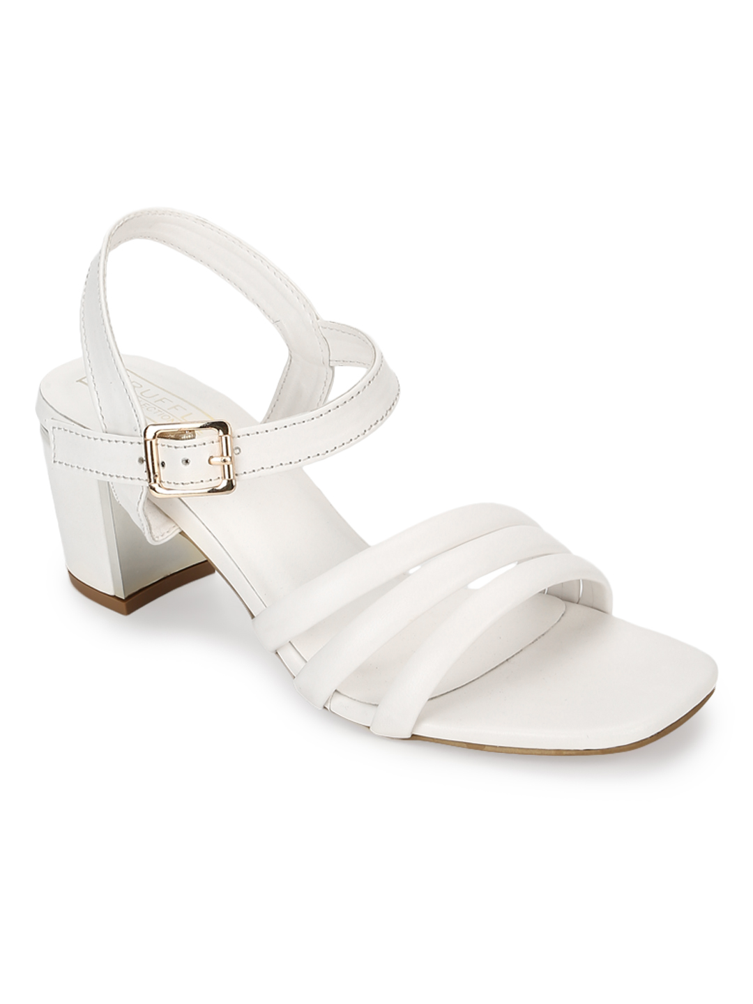 Truffle Collection | Truffle Collection White PU Block Heel Sandals