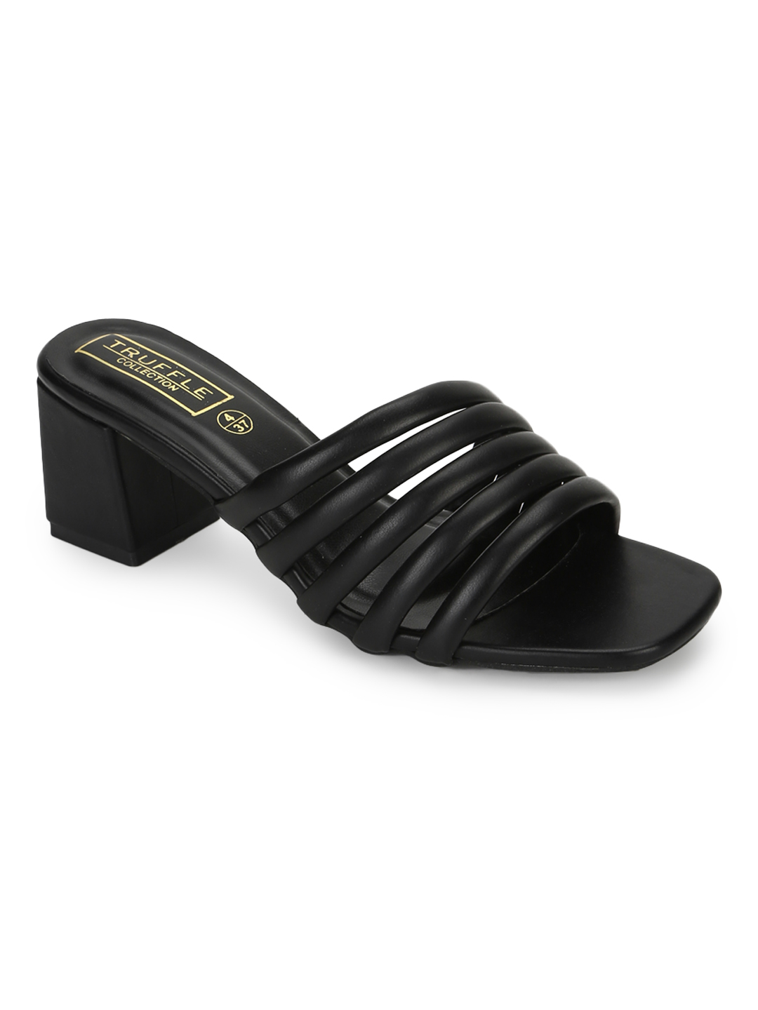 Truffle Collection | Truffle Collection Black PU Block Heel Mules