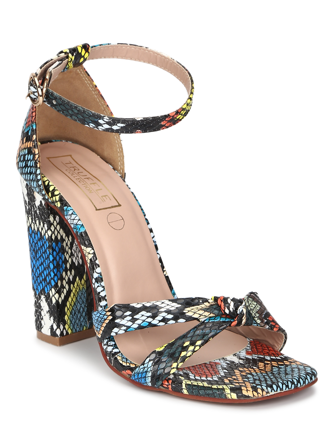 Truffle Collection | Truffle Collection Multicolor Snake Kotted High Block Heels