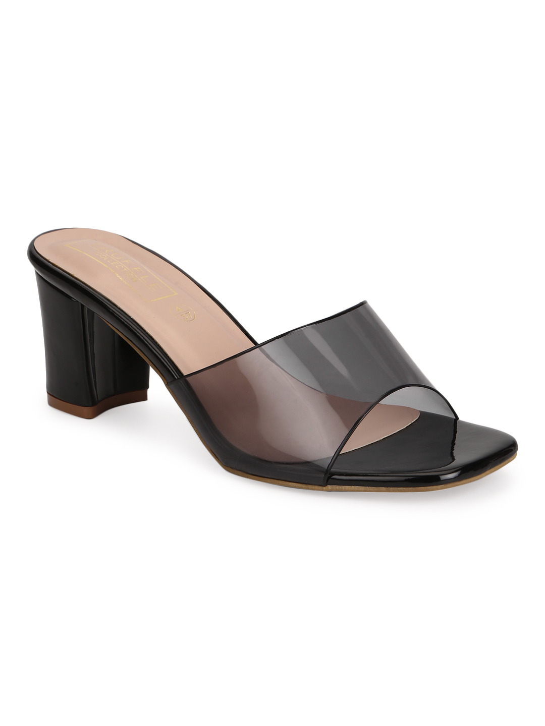 Truffle Collection | Truffle Collection Black Patent Perspex Clear Strap Mules