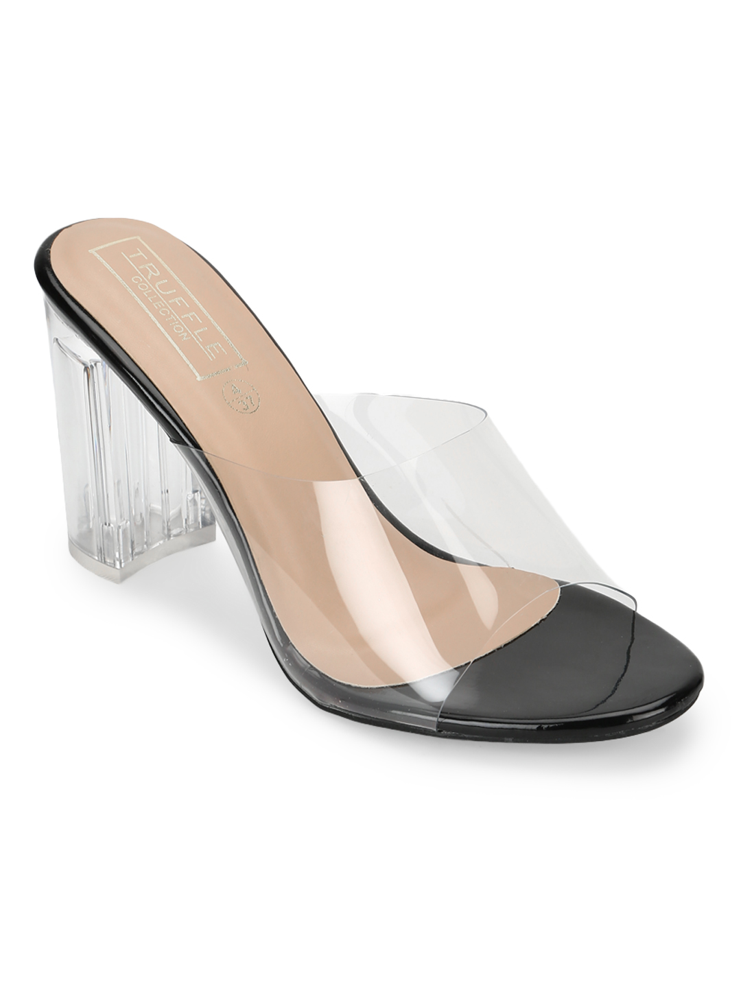 Truffle Collection | Truffle Collection Black Clear Perspex High Heel Mules