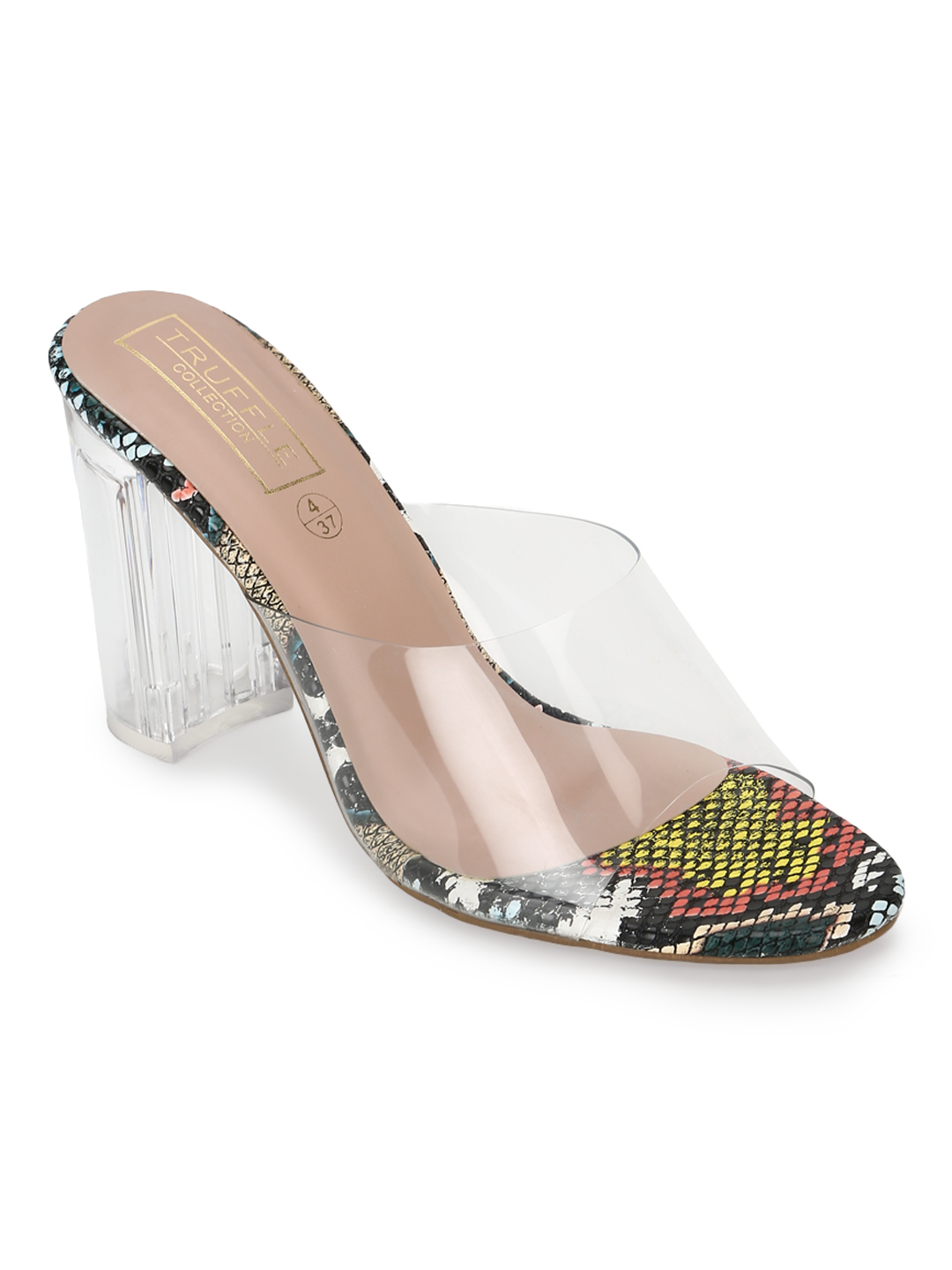 Truffle Collection | Truffle Collection Multicolor PU Clear Perspex High Heel Mules