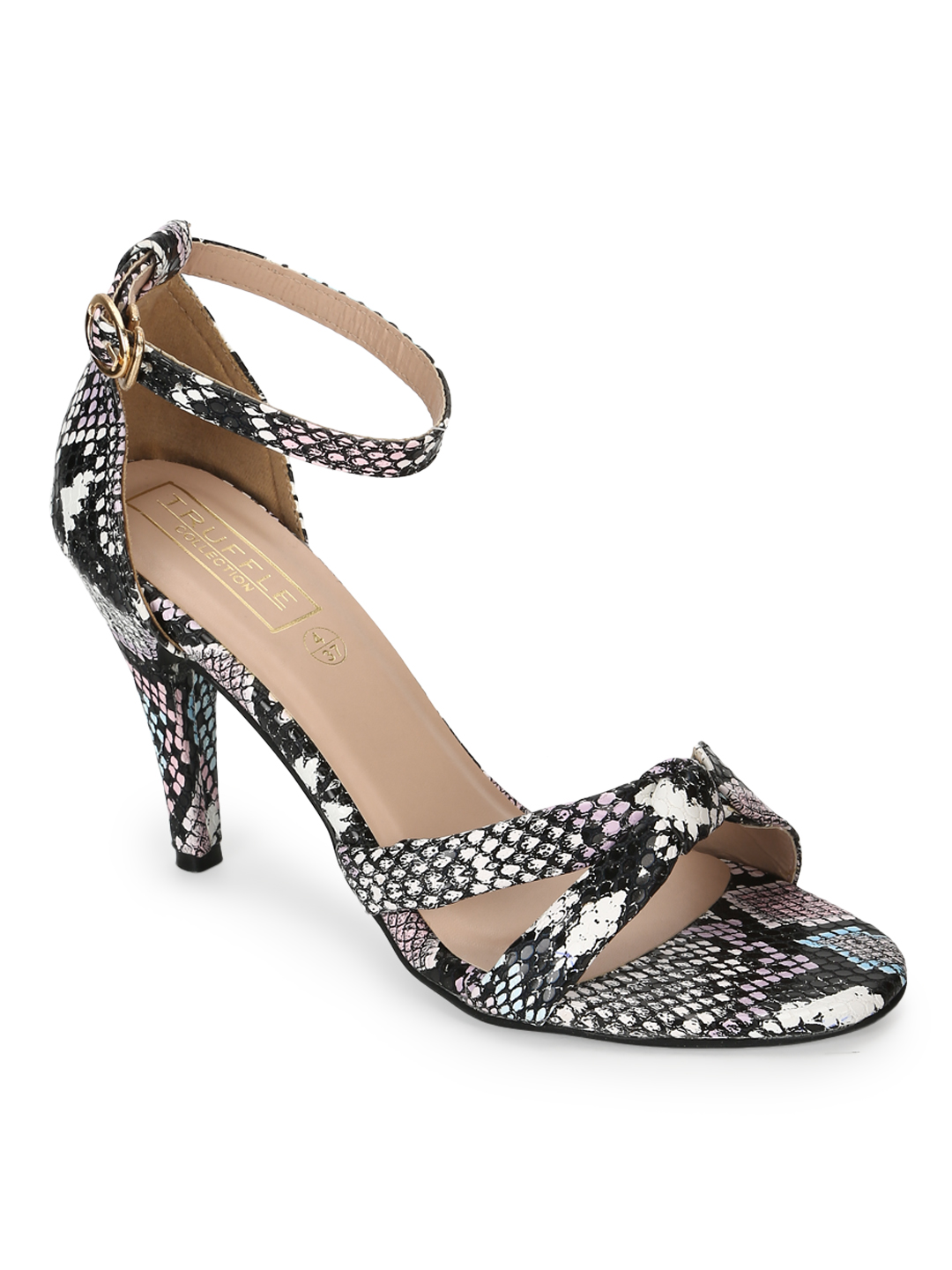 Truffle Collection | Truffle Collection Black Snake Strappy Stilettos