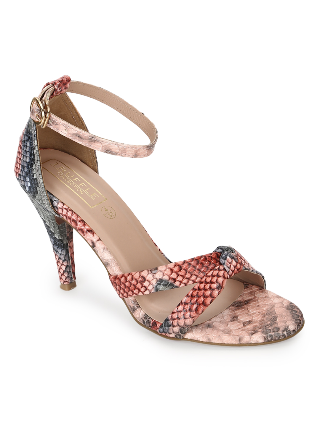 Truffle Collection | Truffle Collection Multicolor Snake Strappy Stilettos