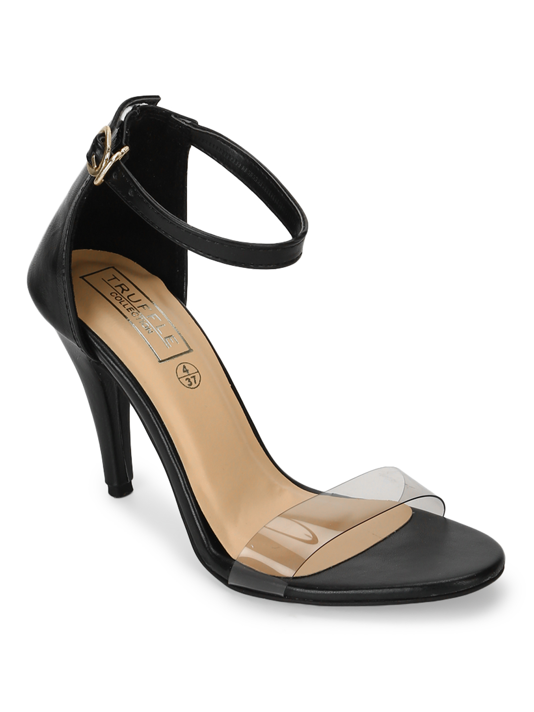 Truffle Collection | Truffle Collection Black Stilettos With Clear Straps