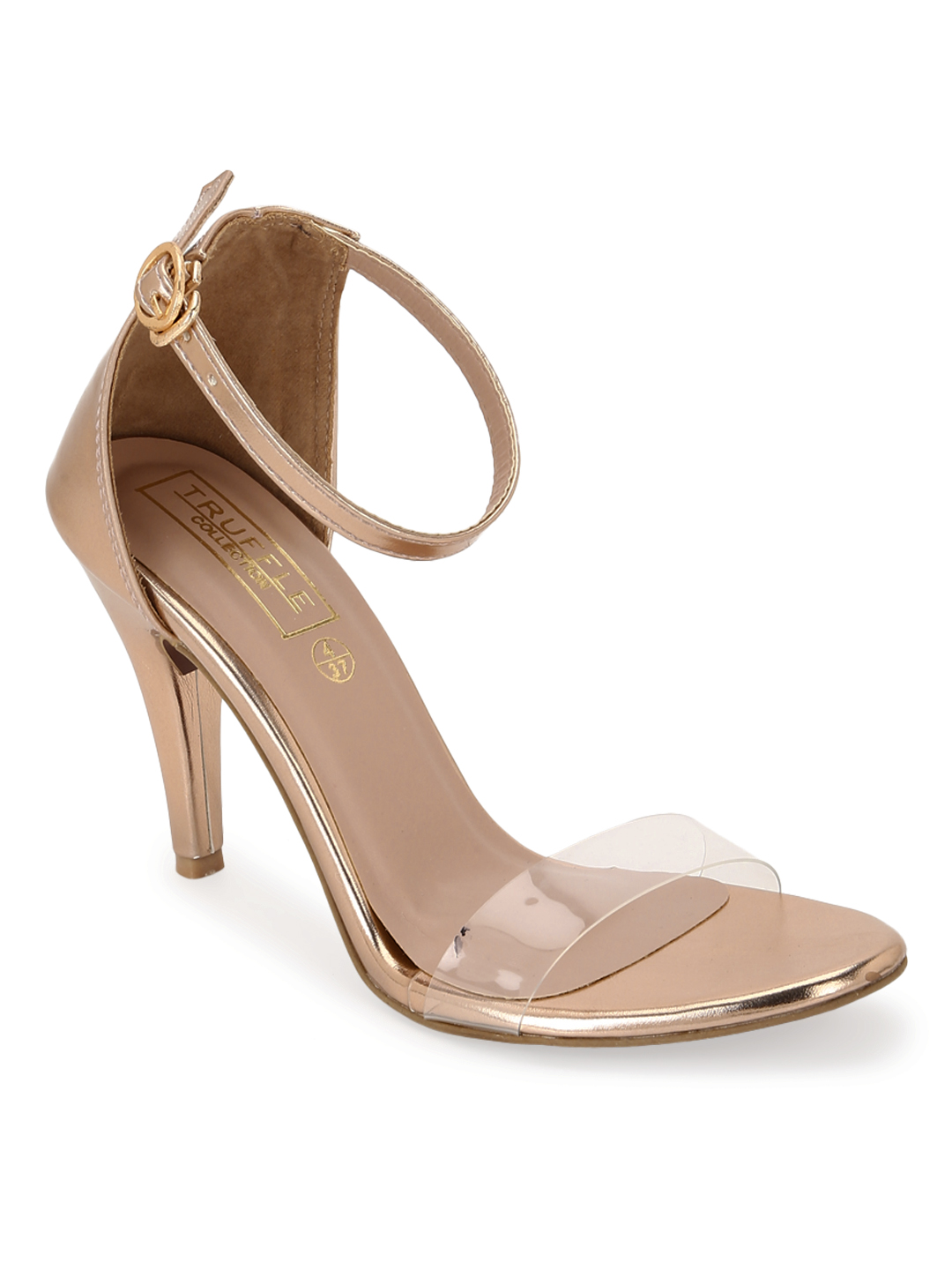 Truffle Collection | Truffle Collection Rosegold Stilettos With Clear Straps